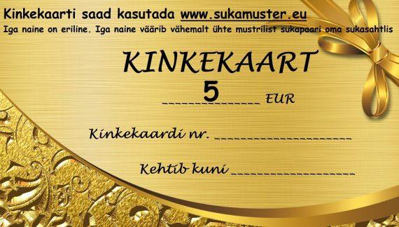 Kinkekaart 5 eurot kodulehele