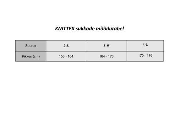 KNITTEX sukkade mõõdutabel 2